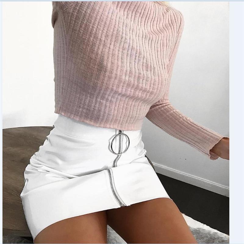2017 Autumn Women's Micro Stretch Slim High Waist Bodycon Bandage Zippers White Color Straight Mini Skirts Plus Size