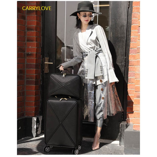 CARRYLOVE PU Leather Rolling Luggage Set Spinner High capacity Trolley High grade luxury Suitcase Wheels Women Cabin FashionCARRYLOVE PU Leather Rolling Luggage Set Spinner High capacity Trolley High grade luxury Suitcase Wheels Women Cabin Fashion