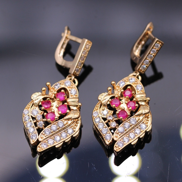 Elegant Bijoux Princess Jewelry Red CZ Crystal Drop Gold Plated Party Long Wedding Earrings For Women 4colors