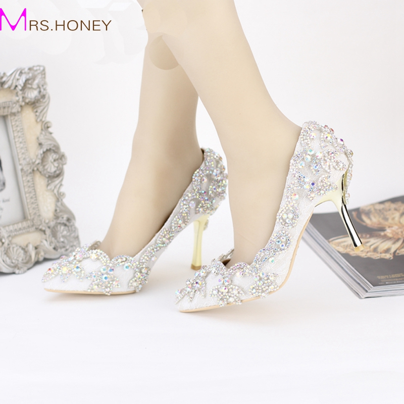 Pointed Toe High Heels For Wedding Party Rhinestone Covered Bridal Dress Shoes Stiletto Heel Banquet Pumps White Pink Red Color цены онлайн