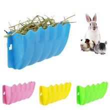 Small Pet Rabbit Grass Feeder Rack Fixed External Shelf Plastic Hay Bowl Cat Guinea Pigs Animals pet