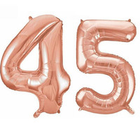 32 pouces Géant 45e Fête D'anniversaire 100 cm Feuille Ballon D'hélium Air Décoration Âge 45 OR Rose anniversaire partie décoration
