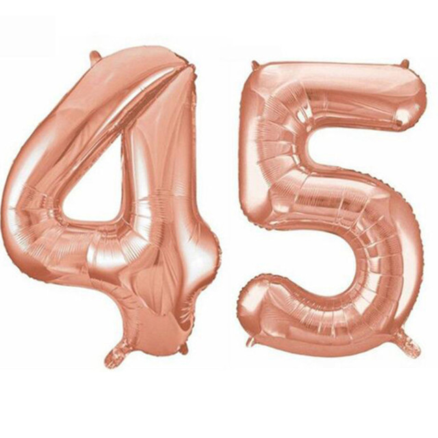 32 Inches Giant 45th Birthday Party 100 Cm Foil Balloon Helium Air Decoration Age 45 Rose