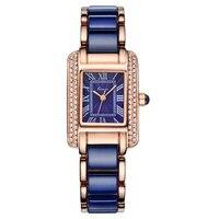 Mulheres Kimio Relógio de Quartzo Moda Quadrado Azul Bracelete de Diamantes Relógios de Marca Imitação Cerâmica Estudante relógio de Pulso À Prova D' Água