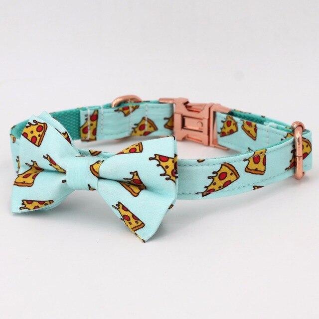 Popular collar y correa de perro con patrón de Pizza con pajarita para perro grande y pequeño collar de tela de algodón hebilla de metal dorado rosa