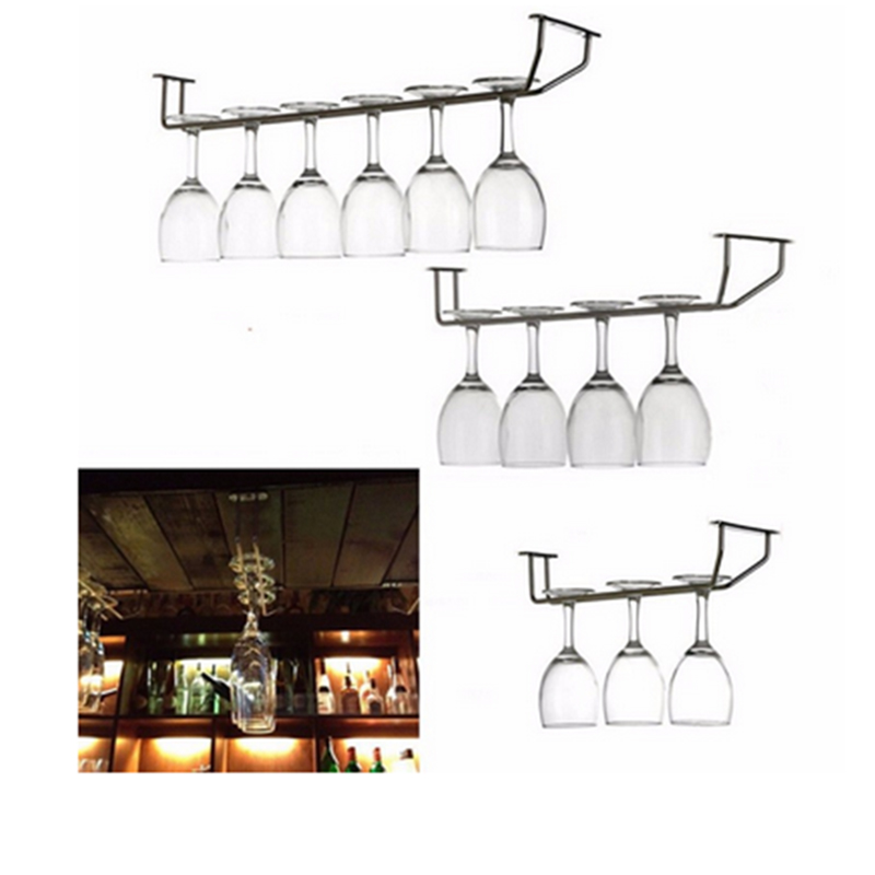 2017 stainless steel wine glass cup hanging rack holder single rows shelf inverted hanger drying. Black Bedroom Furniture Sets. Home Design Ideas