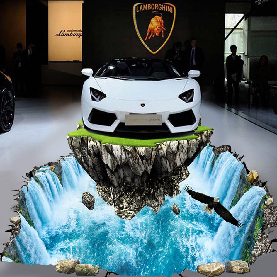 Free Shipping 3D floor paste waterfall auto show hall walkway lobby decoration self-adhesive wear floor wallpaper mural