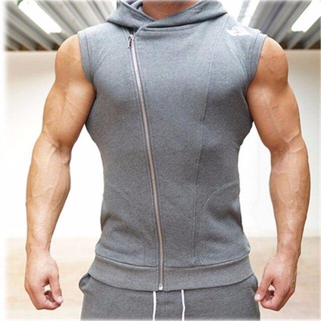 542d3fbf745 2016 New Men Hoodie Brand Sweatshirts Fitness Workout Sleeveless Tees Shirt Cotton  Vest Singlets Hooded Undershirt