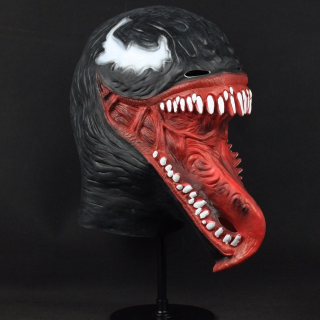 Crazy Venom Latex Mask Cosplay Black Spider Man Edward Brock 1