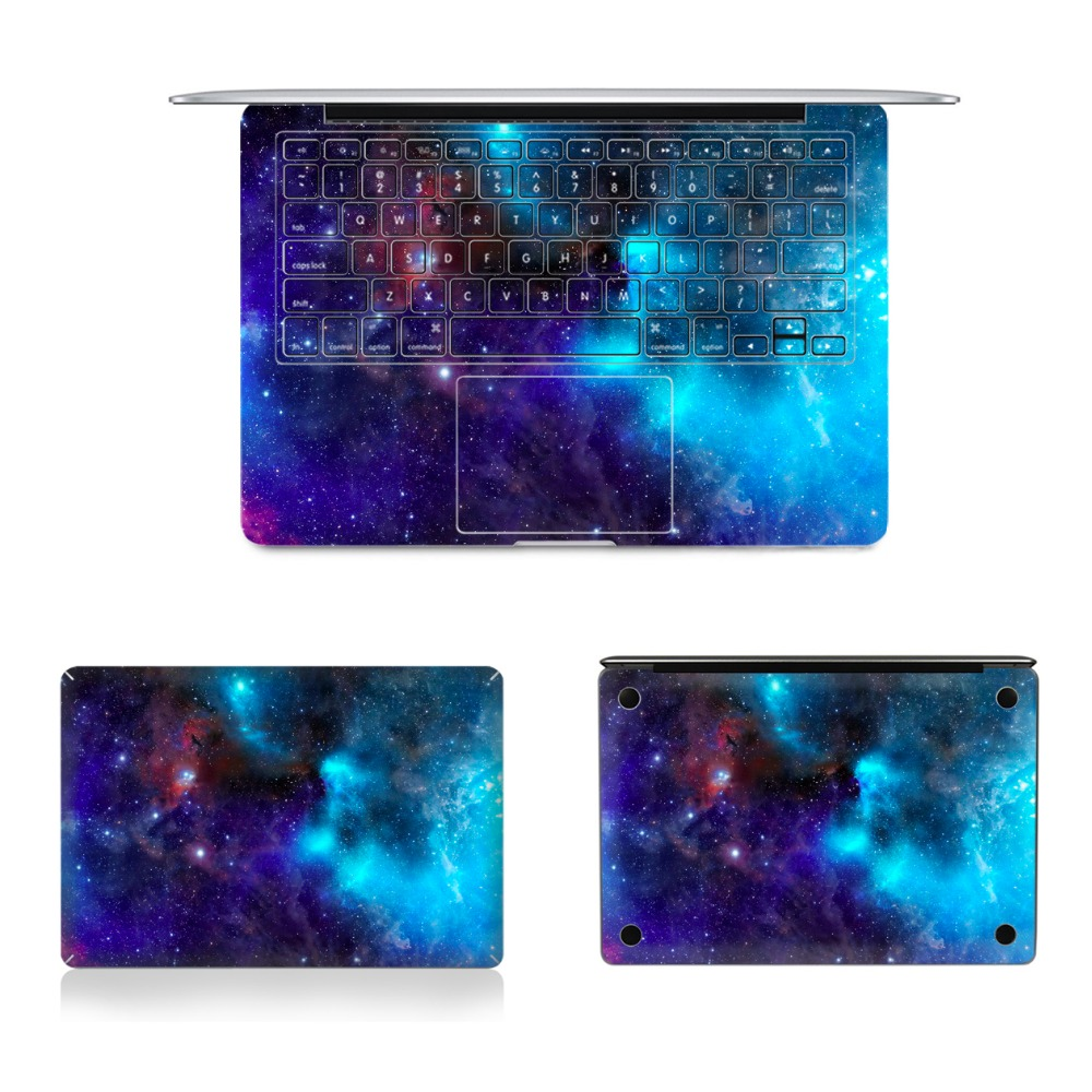 YCSTICKER - Laptop Full Sticker Top Bottom US&EU Keyboard Vinyl Decal Starry Print Skin For Macbook Air Retina Pro & Screen Film