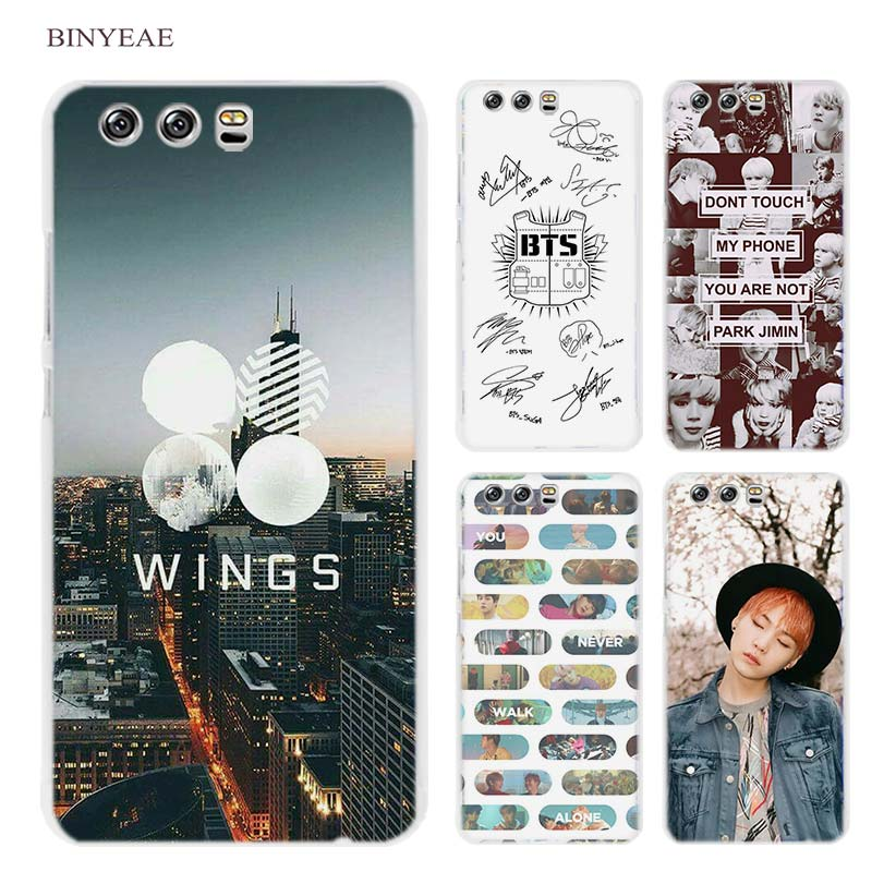 BINYEAE BTS Bangtan Boys Music Hard Transparent Case Cover Coque for Huawei P8 P9 P10 Lite 2017 Plus P7