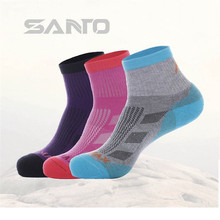 3 Pairs SANTO S046 50% Coolmax 30% Cotton Outdoor Hiking Socks Womens Sports Quick Dry Spring Summer Fit to Size 35-38