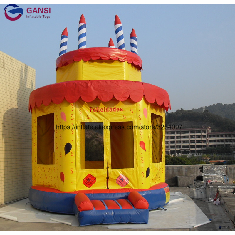 Birthday party inflatable bounce house for kids,5m Inflatable jumping castle with birthday cake model residential inflatable jumping castle for family use bounce house combo water slide for kids
