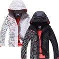 Женские лыжные куртки GSNOW SNOW  черные/белые Водонепроницаемые зимние куртки 10 к для катания на лыжах и сноуборде