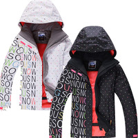 GSNOW SNOW Good Quality Black/White Women Skiing Jackets Lady Snowboard Clothing 10K Waterproof Winter Costume Snow Suit coats