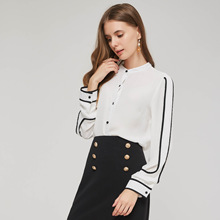 VFan Office Lady Fashion Female Elegant Button Contrast Color White Bouse Chiffon Stand Collar Shirt Ladies Tops Workwear blouse contrast collar metal embellished button up shirt