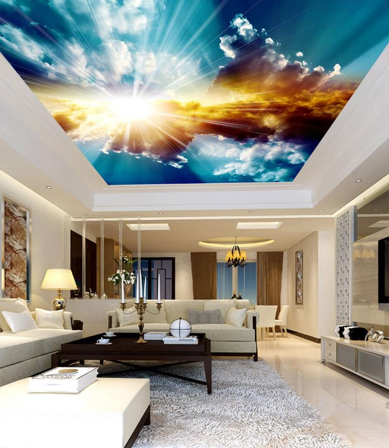 Home Decor 3D Ceiling Blue sky and white clouds Murals Wallpaper For Lliving room 3D Wallpaper Ceiling Decorative Background custom ceiling wallpaper blue sky and white clouds murals for the living room apartment ceiling background wall vinyl wallpaper