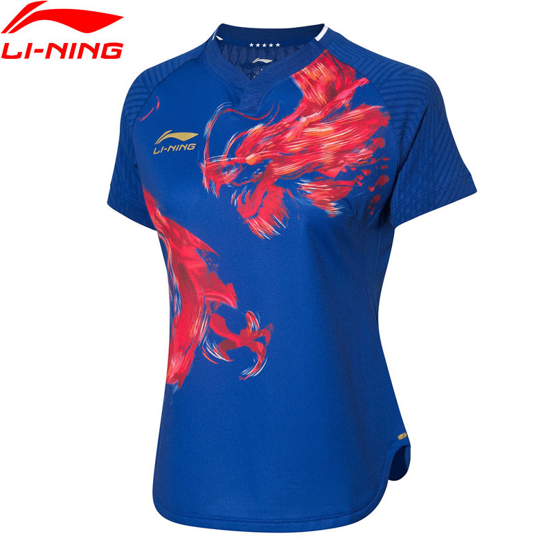 Li-Ning Women's Table Tennis Competition T-shirts For National Team AT DRY LiNing Breathable Sports Tees Tops AAYP074 AMJ19(China)