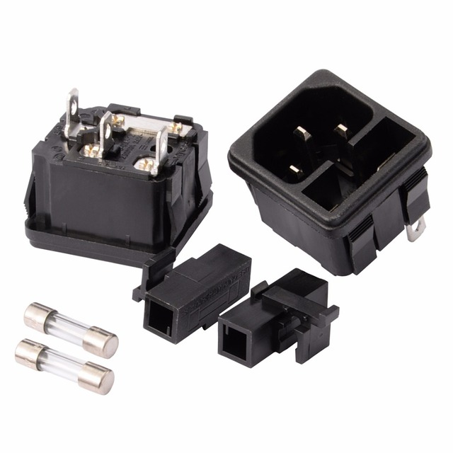 2Pcs with 250V/10A Fuse Black Rocker Switch Fused IEC320 C14 3 Terminals Inlet Power Socket Fuse Switch Connector Plug Connector