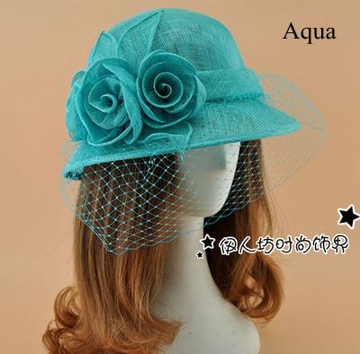 Fashion Stingy Brim Hats Dome Women Hats Wedding Bridal Birdcage Veil 2016 Flower Feather Sinamay Hats Wholesale Free Shipping
