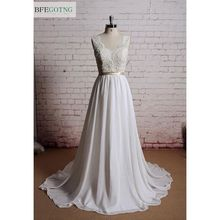 ivory Lace Chiffon V-Neck A-line Wedding Dress Floor -Length Court Train Sleeveless Real/Original Photos Custom made