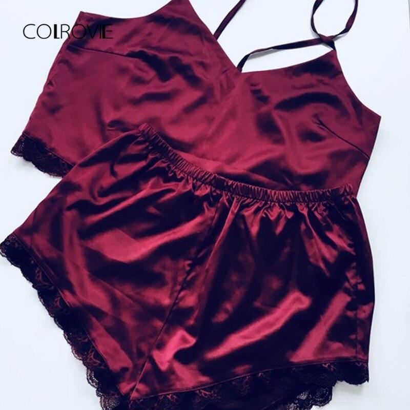 Image 3 - COLROVIE Sleeveless Lace Trim Satin Cami And Shorts Pajama Set Spring Burgundy V Neck Sexy Set Sleepwear Summer Women Pajamas-in Pajama Sets from Underwear & Sleepwears