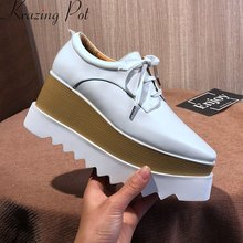 Krazing Pot 2019 koe lederen vierkante teen hoge hakken lace up wedge vrouwen pompen solid party platform superstar casual schoenen l18(China)