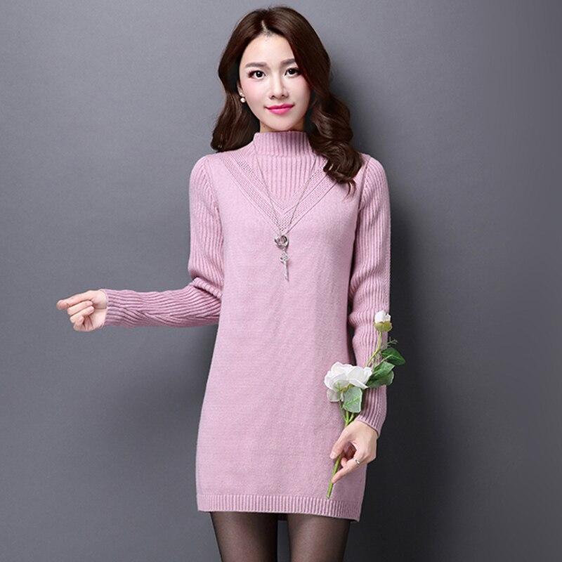 2018 New Winter Women Sweaters Dress Pullovers Warm Long Knitted Sweater Knitwear Poncho Tunics Gray Black Plus Size Vestidos