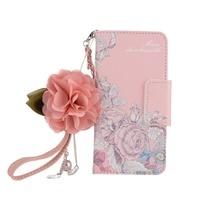 Retro Lindo Pink Rose de La Flor de Cuero Bolso de la Carpeta Del Tirón para el iphone X 8 7 6 s Plus 5S para Samsung Cubierta Borde S7 S8 Más Nota8