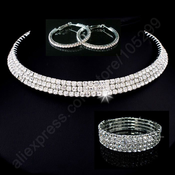 2016 Bride Jewellery Sets 925 Sterling Silver SW ELEMENT Crystal Necklace Stu Earring 4 Lines Bracelet Engagement Wedding ...