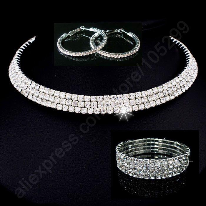 2016 Bride Jewellery Sets 925 Sterling Silver SW ELEMENT Crystal Necklace Stu Earring 4 Lines Bracelet Engagement Wedding ...