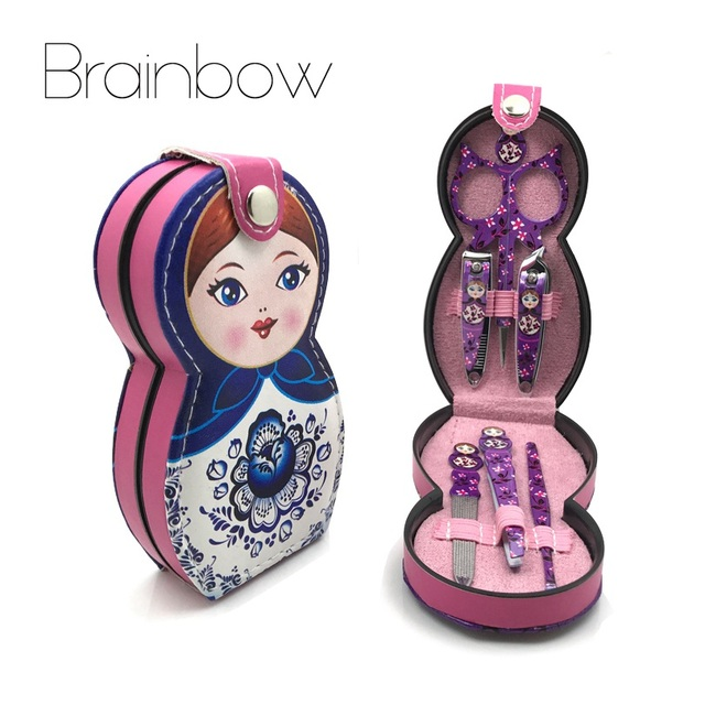 Brainbow 6pc Set Russian Dolly Nail Manicure Stainless Steel Professional Accessories Kit Eyes