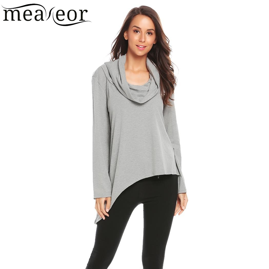 Meaneor Cowl Neck Asymmetrical Hem T Shirt Autumn Casual Women Long Sleeve Solid Tshirts Ladies Pullover Loose tshirt Tops Tees