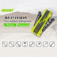 Jakemy JM-PJ1004 17 في 1 موضوع أدوات الأجهزة ناحية أداة المفك كيت الهواء للطي مآخذ الجمع سكين فتاحة حدق بار
