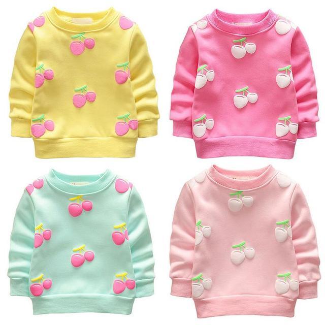 Toddler Baby Cotton Sweater Coat Autumn Winter Cherry Children Plus Velvet Clothing Long Sleeve Girls Boys Sweatshirt Clothes