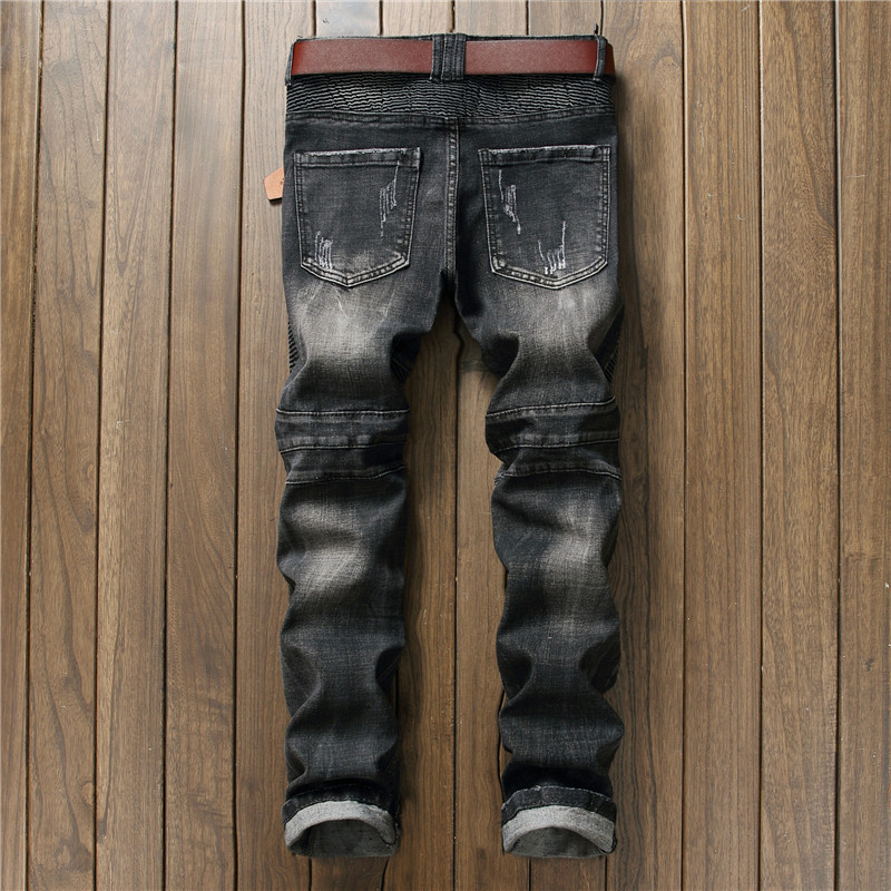 Hi-Street Mens Distressed Biker Jeans Skull Patchwork Fashion Pleated Ripped Denim Joggers Black Slim Fit Trousers With Patches 10