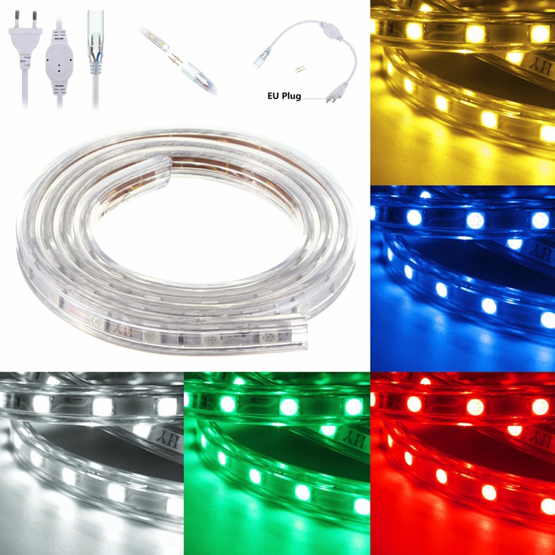 Waterproof 1/2/3/4/5/6/7/8/9/10/11/12/13/14/15/20M RGB LED Strip Light 5050 SMD Flexible Tape Rope Party Garden 220V