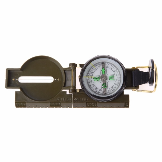 Portable Folding Lens Compass Army Green Outdoor Camping Hiking Compass Military Tactical Kit Pocket Direction Pointer