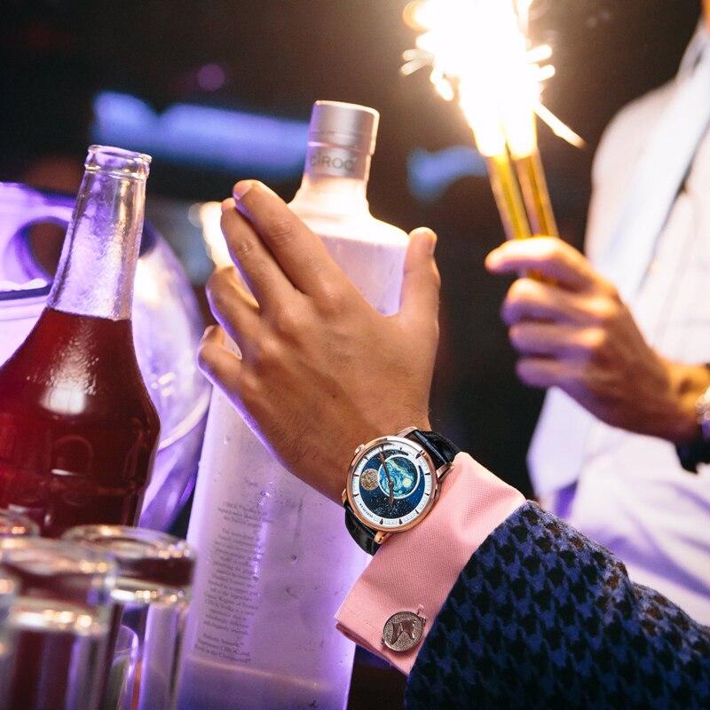 Agelocer marca de topo designer relógio masculino safira cristal rosa ouro lua fase relógios marrom couro banda 6401d2 - 2