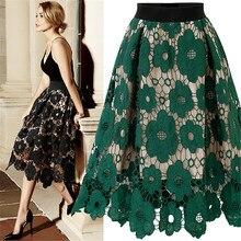 купить Women High Waist Maxi A-line Skirt 2019 Summer Ladies Lace Flower Party Skirt Elegant Female Long Midi Skirt Plus Size дешево
