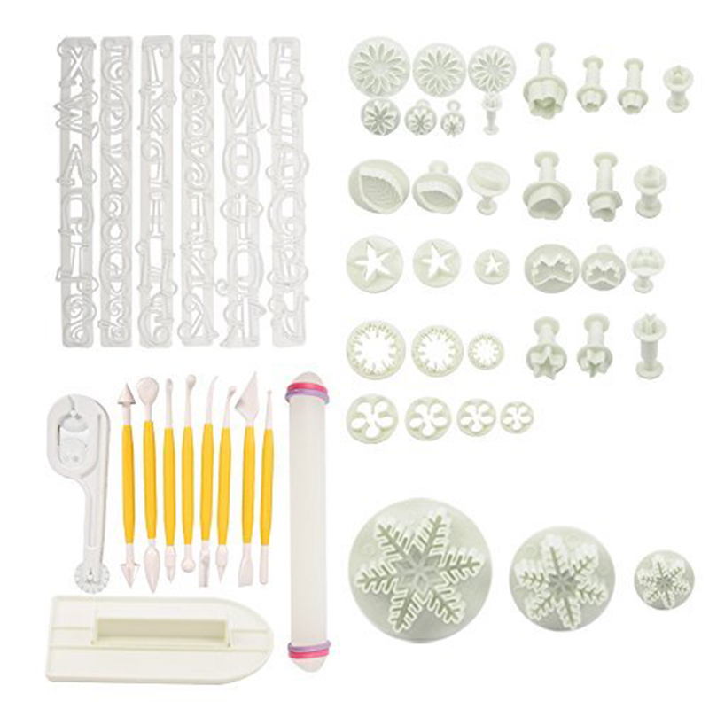 53pcs / sett Full Sets kake Decration Tool Set av Fondant Cake Cutter Mugg Sugarcraft Ice Cream Dekorere Flower Modeling Tools