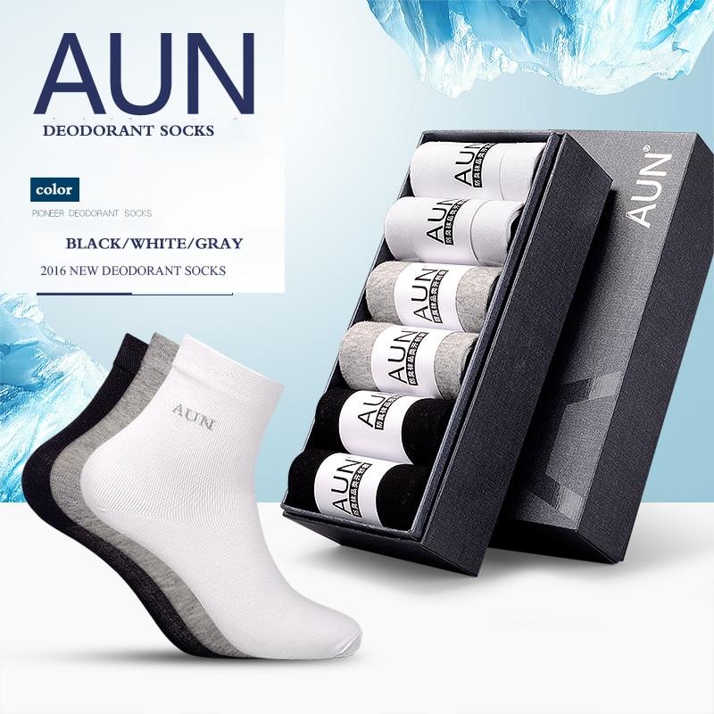 AUE Silver molecules Deodorant Sterilization Men Cotton Socks Classic Business Brand Mens Socks Mens medium Socks 24-26CM T109