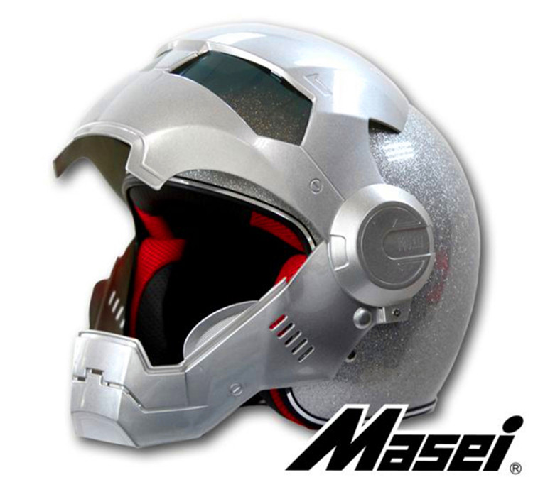 Motorcycle helmet 901 half The Ironman helmet safety premium off-road racing exposing the surface of silver for top gear the stig helmet with silver visor tg collectable like simpson pig yellow motorcycle helmet you re the stig