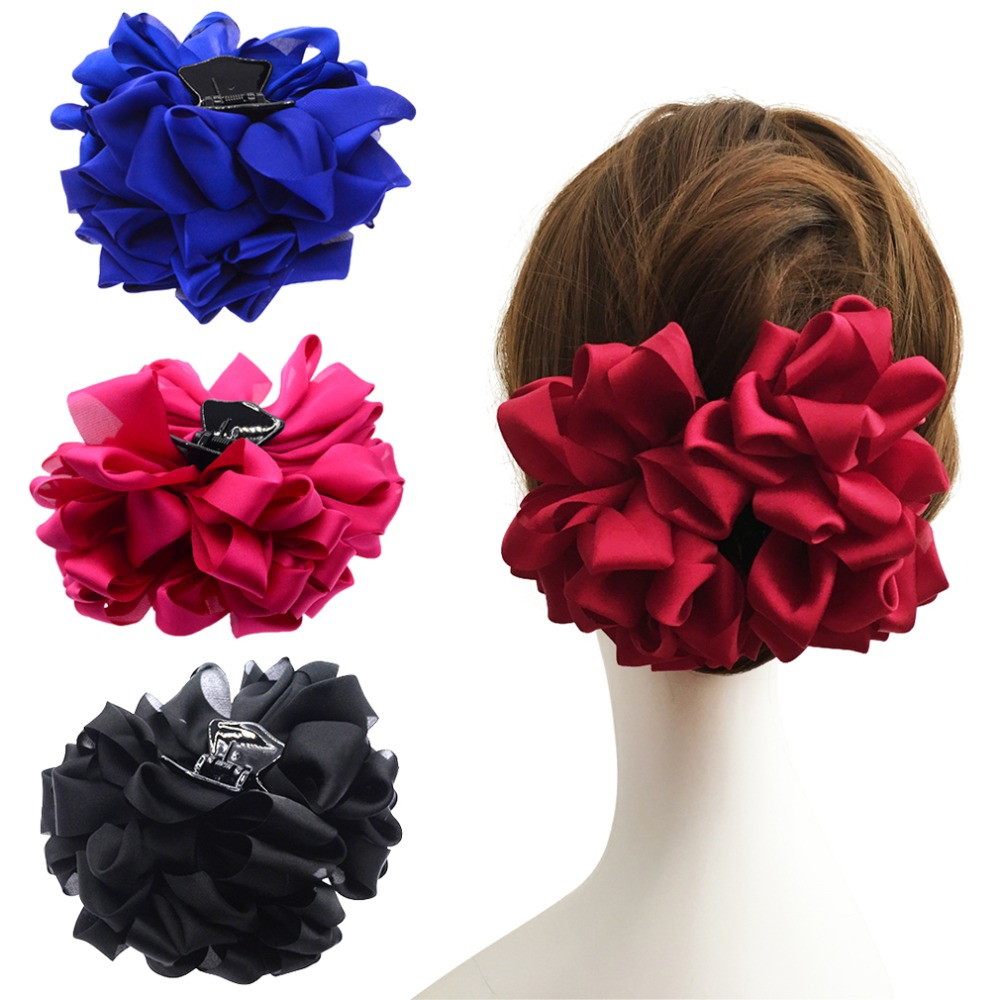 3 5 Black Flower Hair Clip With Flower Center: New Large Silk Flower Bow Hair Claw Jaw Clips For Women