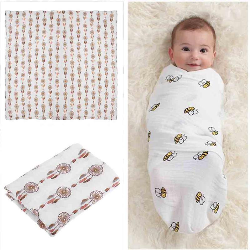 Muslin Newborn Baby Blanket Bedding Supplies Soft Cartoon Gauze Baby Kids Bath Towel Infant Swaddle Wraps Thick Warm Blankets