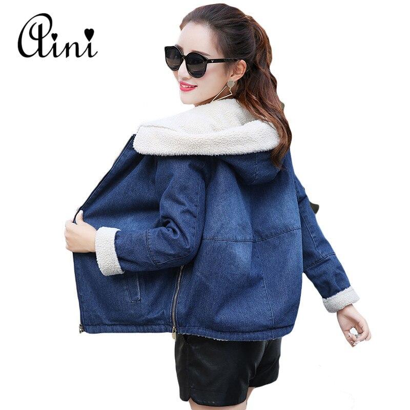 Autumn Winter Women Hooded Windbreak Lamb Wool Denim Jacket Long Sleeve Warm Outerwear Jeans Coats Casaco Feminino Plus Size 2XL