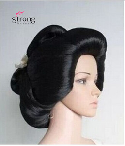 Image 2 - Black Japanese Geisha Flaxen Hair Synthetic Daily Cosplay Wig