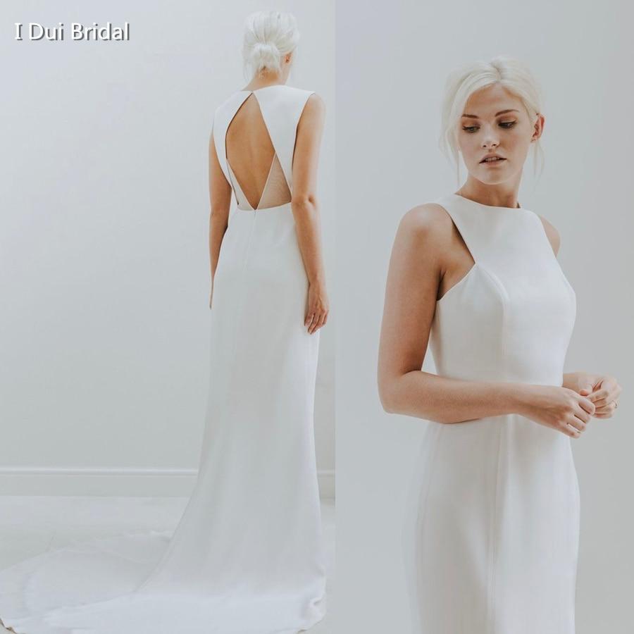 Simple Satin Sheath Wedding Dress Keyhole Back Unique Bridal Gown High Quality