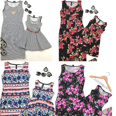 2017 New Women Mother Daughter Matching Dresses Summer Sleeveless print Girl Dress Clothes Outfit