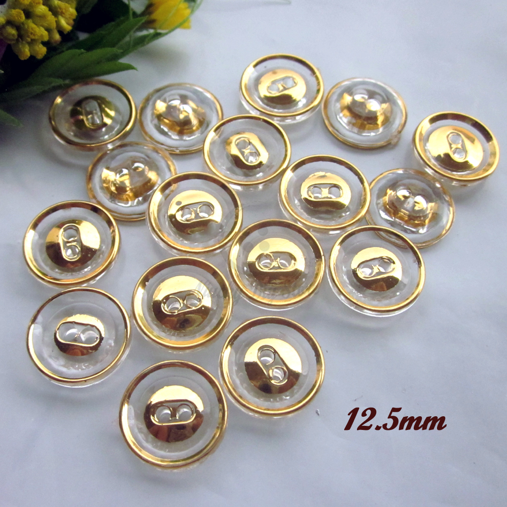 60pcs 12.5mm gold edge transparent crystal shirt buttons for sewing diy  craft decoration 2 holes 56a8ad046750